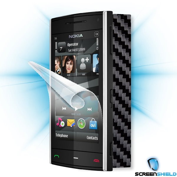 ScreenShield Nokia X6 - Films on display and carbon skin (black)