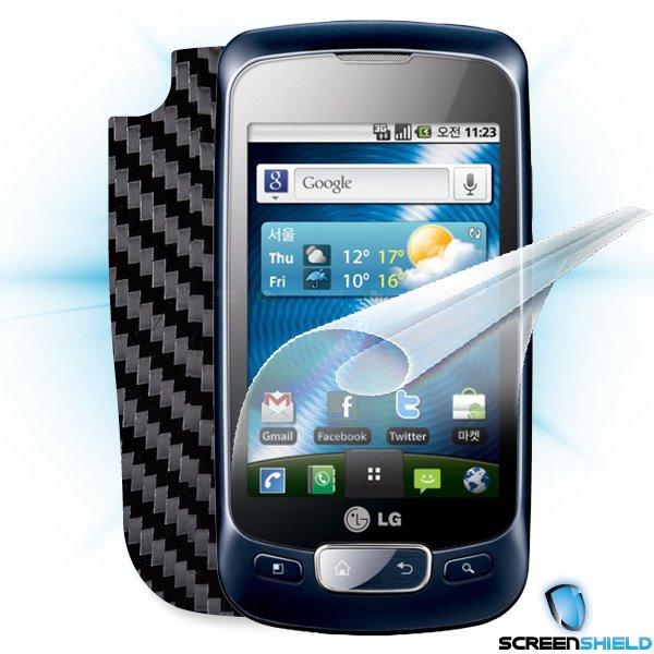 ScreenShield LG Optimus One (P500) - Films on display and carbon skin (black)