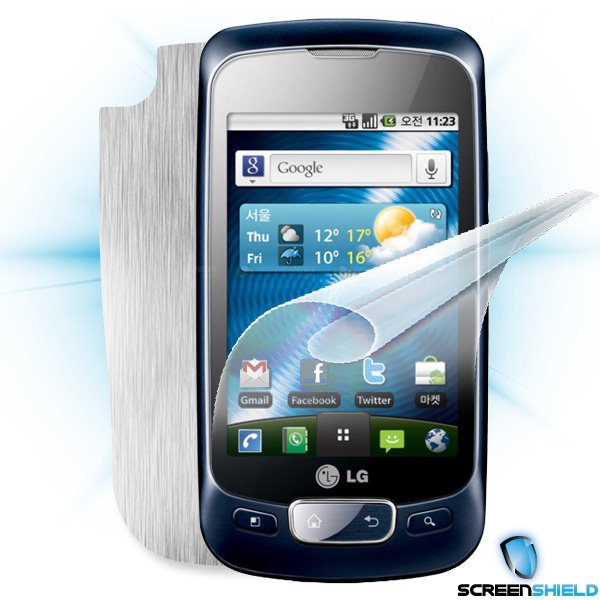 ScreenShield LG Optimus One (P500) - Films on display and carbon skin (silver)