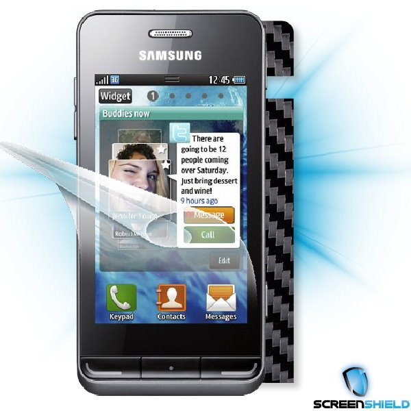 ScreenShield Samsung Wave 723 - Films on display and carbon skin (black)