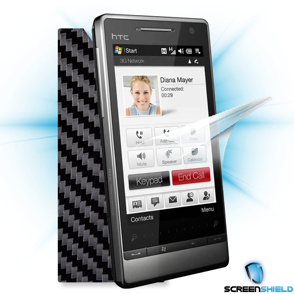 ScreenShield HTC Diamond 2 - Films on display and carbon skin (silver)