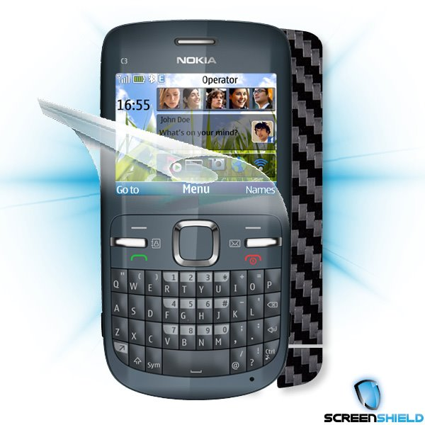 ScreenShield Nokia C3 - Films on display and carbon skin (black)