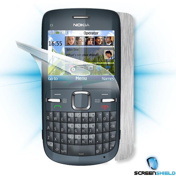 ScreenShield Nokia C3 - Films on display and carbon skin (silver)
