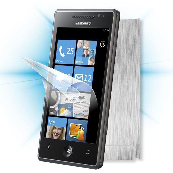 ScreenShield Samsung Omnia 7 (i8700) - Films on display and carbon skin (silver)
