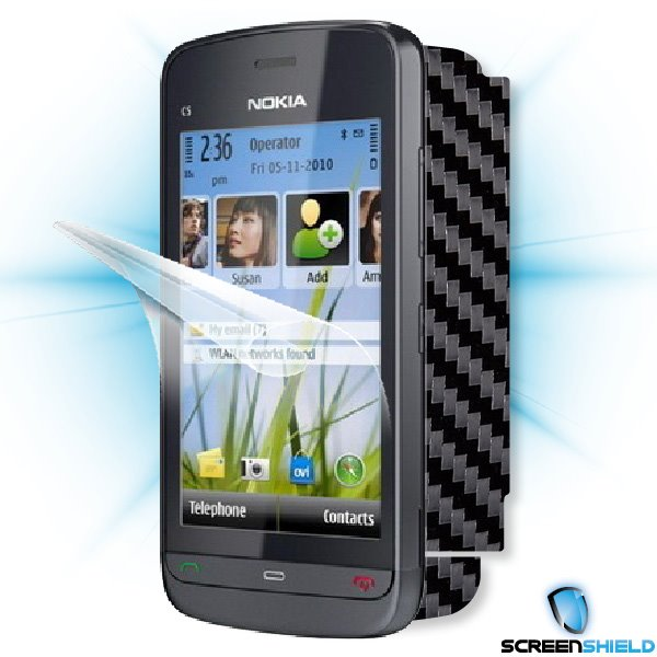 ScreenShield Nokia C5-03 - Films on display and carbon skin (black)