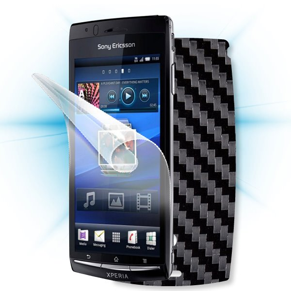 ScreenShield Sony Ericsson Xperia ARC - Films on display and carbon skin (black)