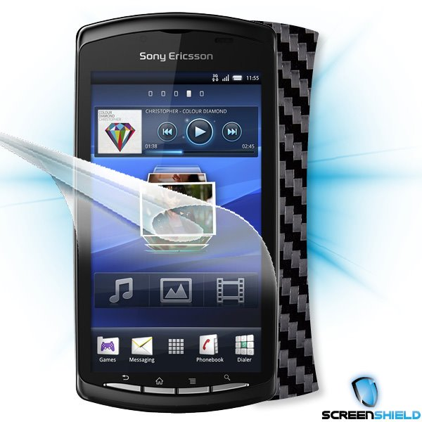 ScreenShield Sony Ericsson Xperia PLAY - Films on display and carbon skin (black)