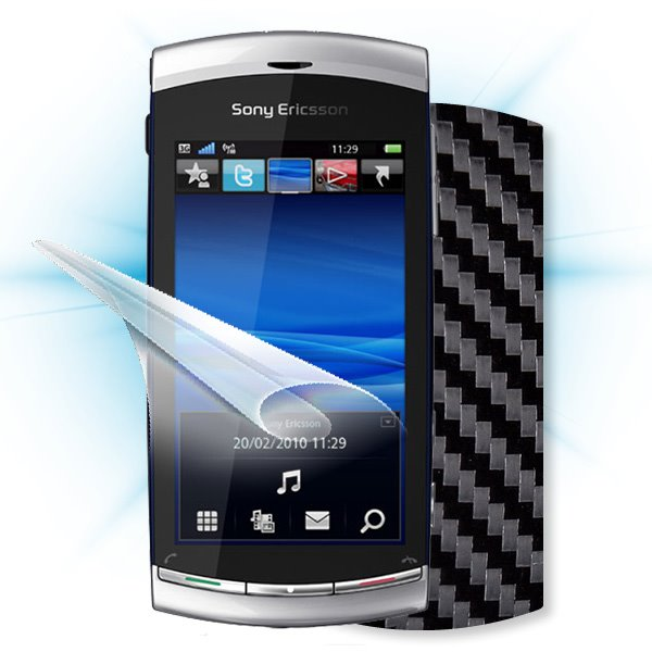 ScreenShield Sony Ericsson U8i Vivaz pro - Films on display and carbon skin (black)