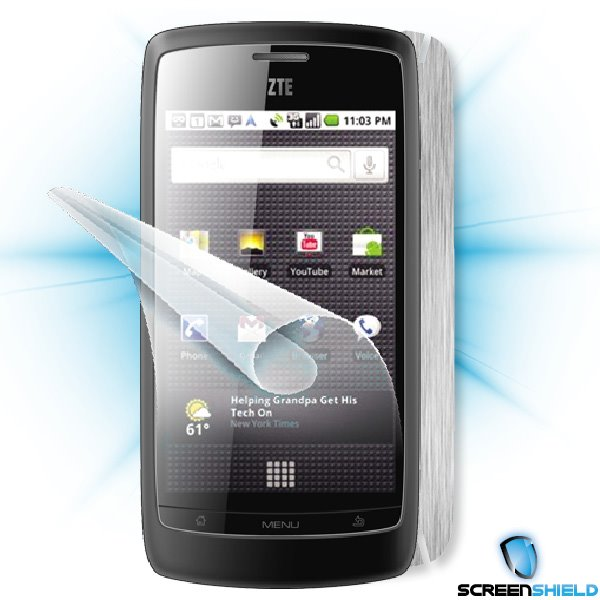 ScreenShield ZTE Blade - Films on display and carbon skin (silver)