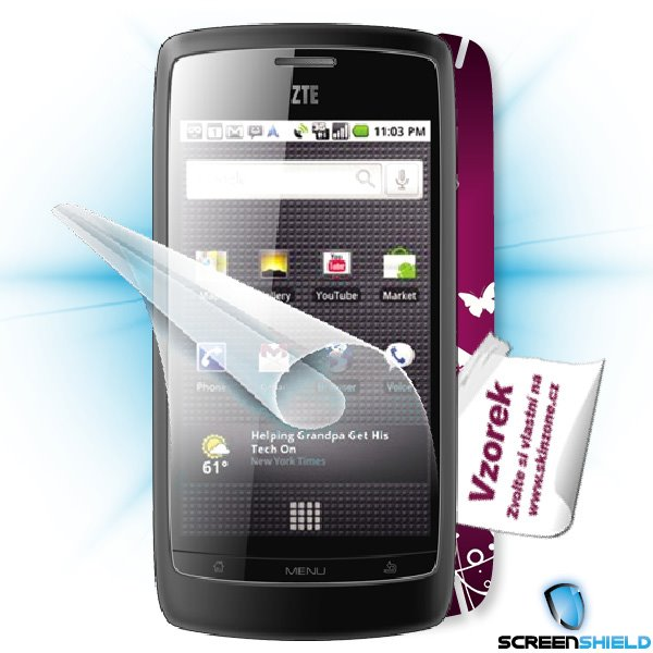 ScreenShield ZTE Blade - Film for display protection and voucher for decorative skin (including shipping fee to end cust