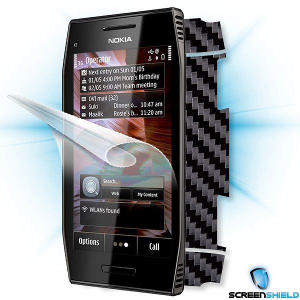 ScreenShield Nokia X7-00 - Films on display and carbon skin (black)