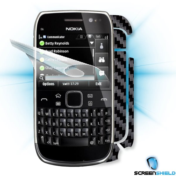 ScreenShield Nokia E6-00 - Films on display and carbon skin (black)