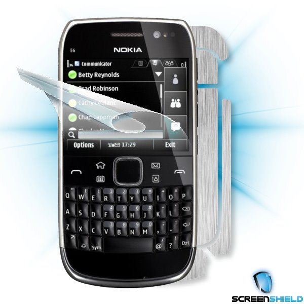 ScreenShield Nokia E6-00 - Films on display and carbon skin (silver)