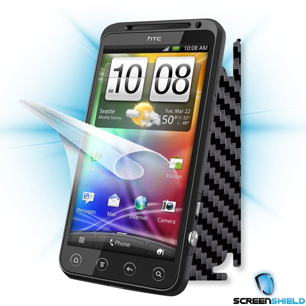 ScreenShield HTC EVO 3D - Films on display and carbon skin (black)