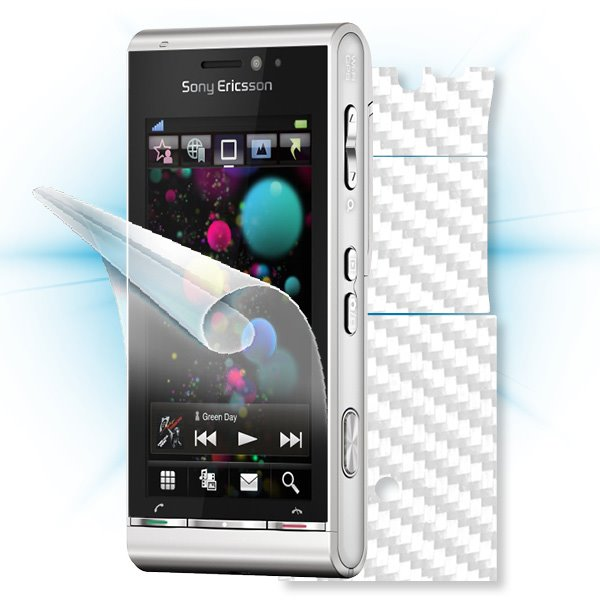 ScreenShield Sony Ericsson Satio - Films on display and carbon skin (white)