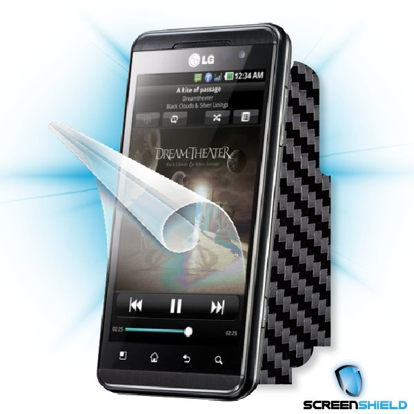 ScreenShield LG Optimus 3D (P920) - Films on display and carbon skin (black)