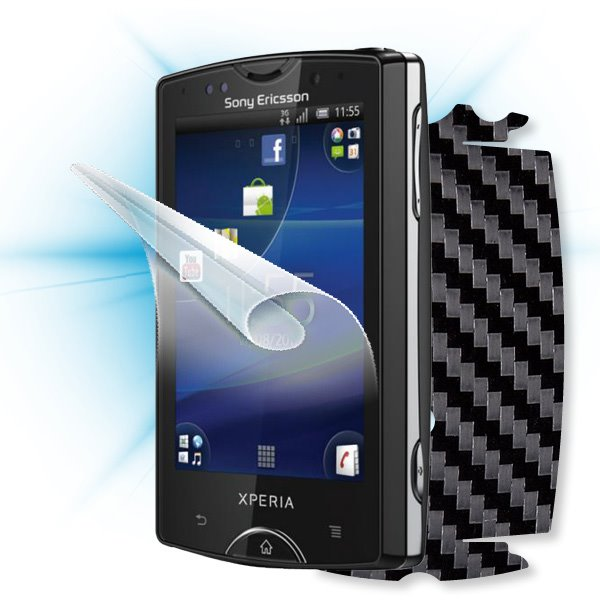 ScreenShield Sony Ericsson Xperia Mini Pro - Films on display and carbon skin (black)