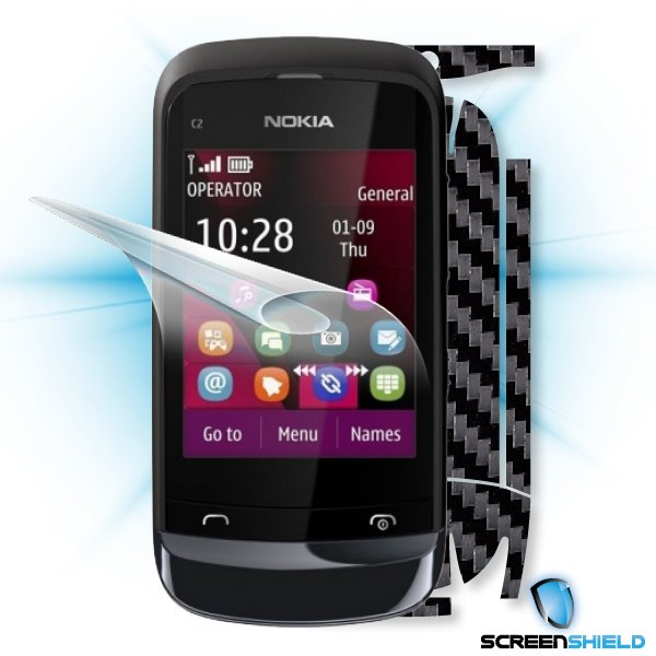 ScreenShield Nokia C2-02 - Films on display and carbon skin (black)