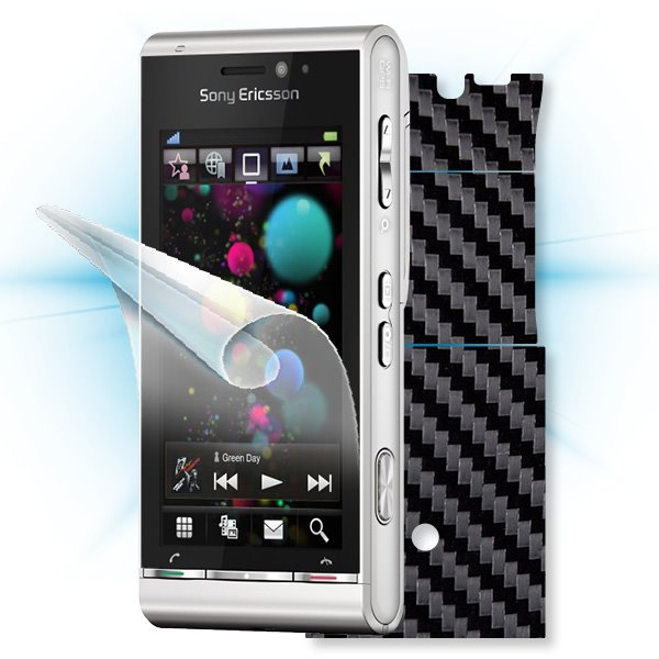 ScreenShield Sony Ericsson Satio - Films on display and carbon skin (black)