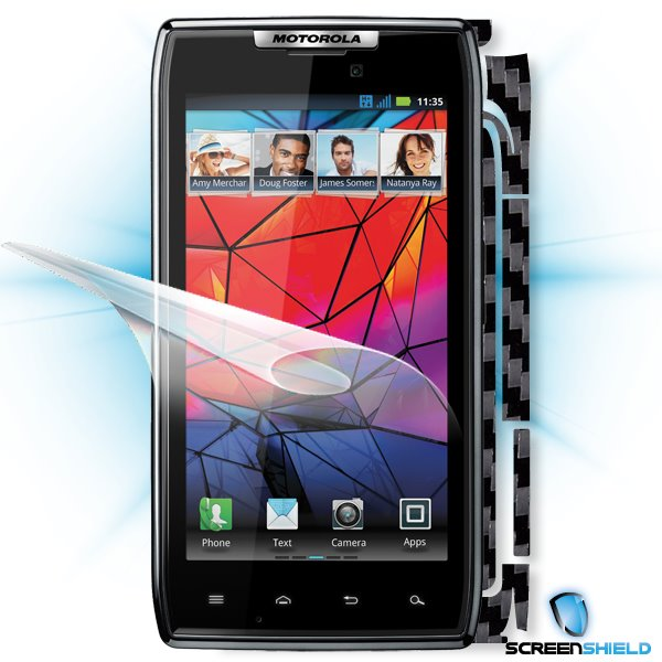 ScreenShield Motorola Razr - Films on display and carbon skin (black)