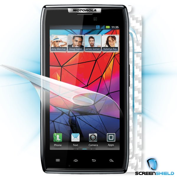 ScreenShield Motorola Razr - Films on display and carbon skin (white)