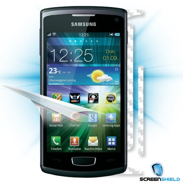 ScreenShield Samsung Wave III S8600 - Films on display and carbon skin (white)