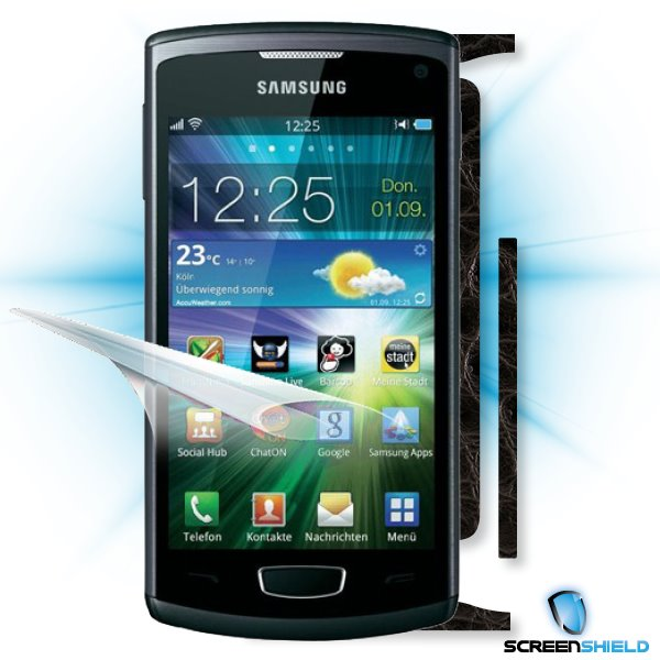 ScreenShield Samsung Wave III S8600 - Films on display and carbon skin (leather)