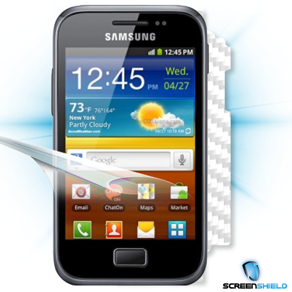 ScreenShield Samsung Galaxy S Plus i9001 - Films on display and carbon skin (white)