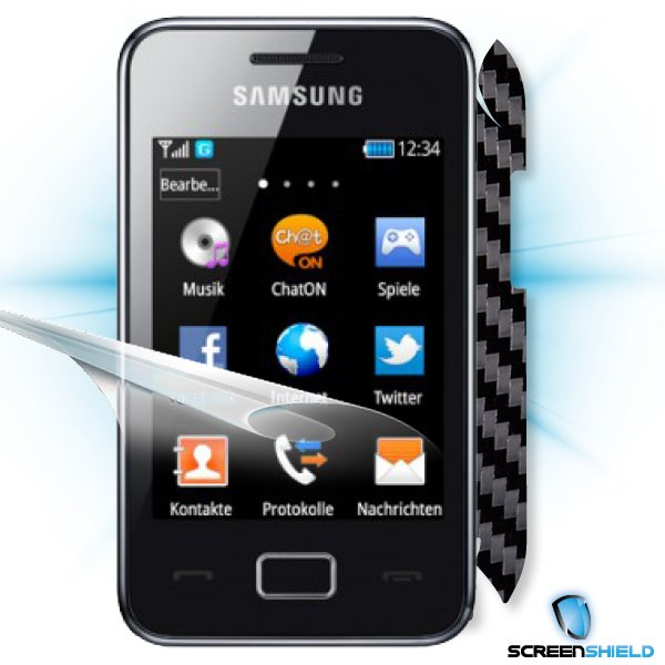 ScreenShield Samsung Star 3/Duos S5220 - Films on display and carbon skin (black)