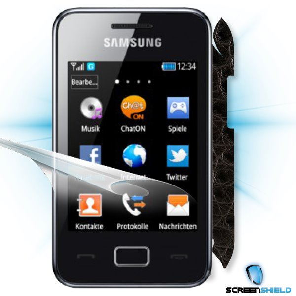 ScreenShield Samsung Star 3/Duos S5220 - Films on display and carbon skin (leather)