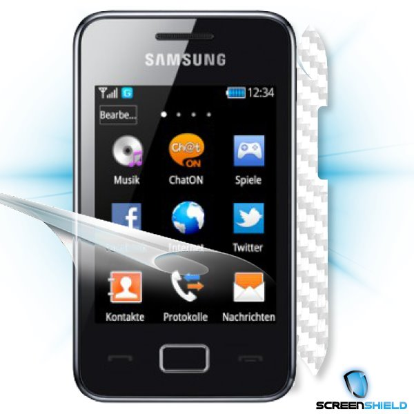 ScreenShield Samsung Star 3/Duos S5220 - Films on display and carbon skin (white)