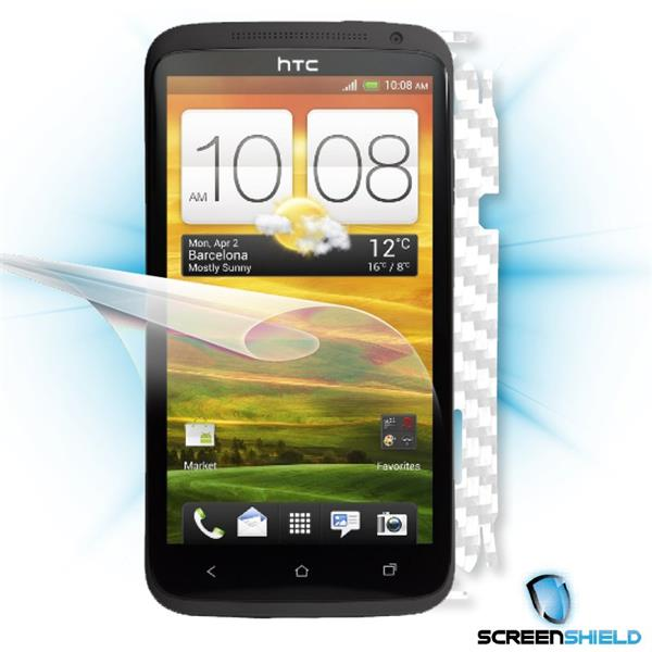 ScreenShield HTC One X - Films on display and carbon skin (white)
