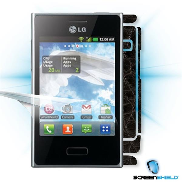 ScreenShield LG Optimus L3 - Films on display and carbon skin (leather)