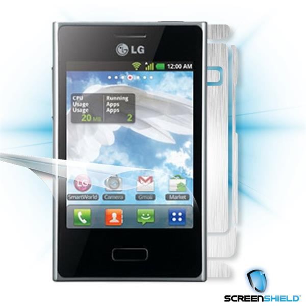 ScreenShield LG Optimus L3 - Films on display and carbon skin (silver)