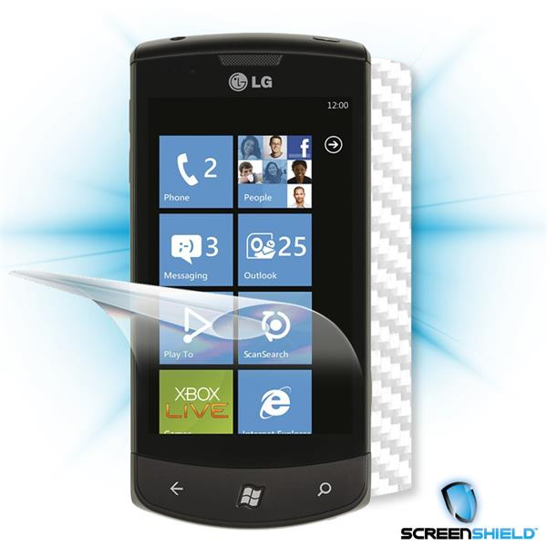 ScreenShield LG Optimus 7 E900 - Films on display and carbon skin (white)