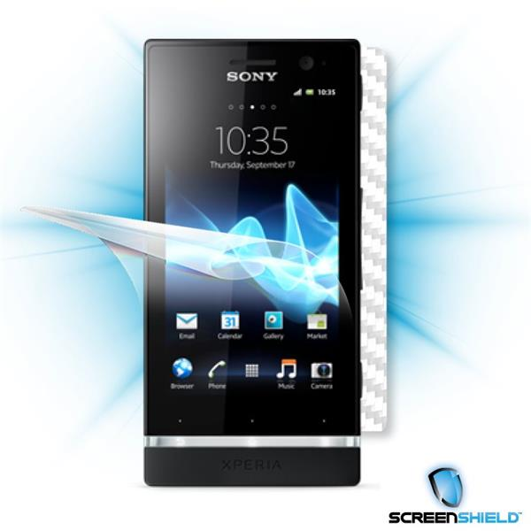 ScreenShield Sony Xperia U - Films on display and carbon skin (white)