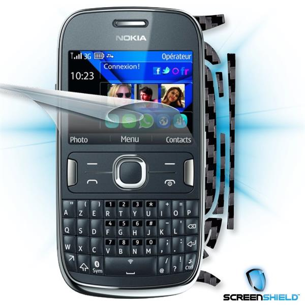 ScreenShield Nokia Asha 302 - Films on display and carbon skin (black)