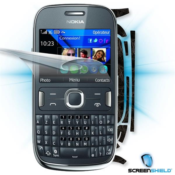 ScreenShield Nokia Asha 302 - Films on display and carbon skin (leather)