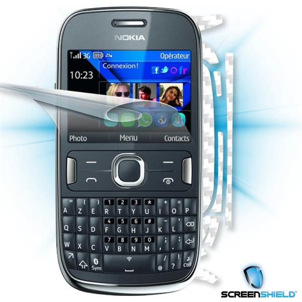 ScreenShield Nokia Asha 302 - Films on display and carbon skin (white)
