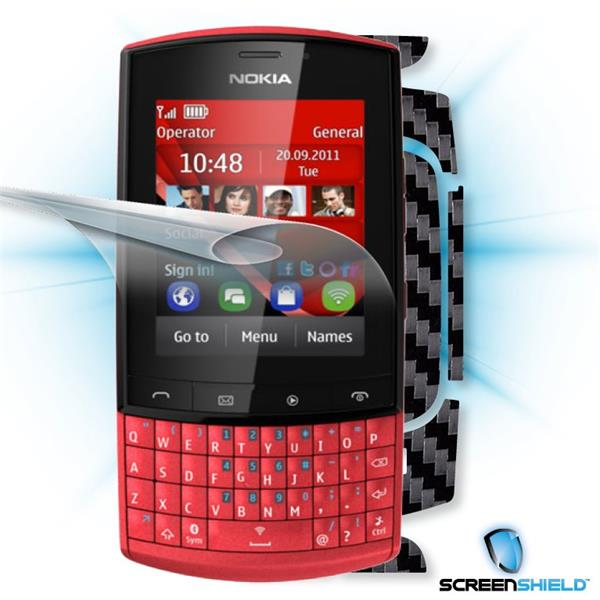 ScreenShield Nokia Asha 303 - Films on display and carbon skin (black)