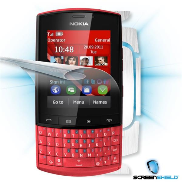 ScreenShield Nokia Asha 303 - Films on display and carbon skin (silver)