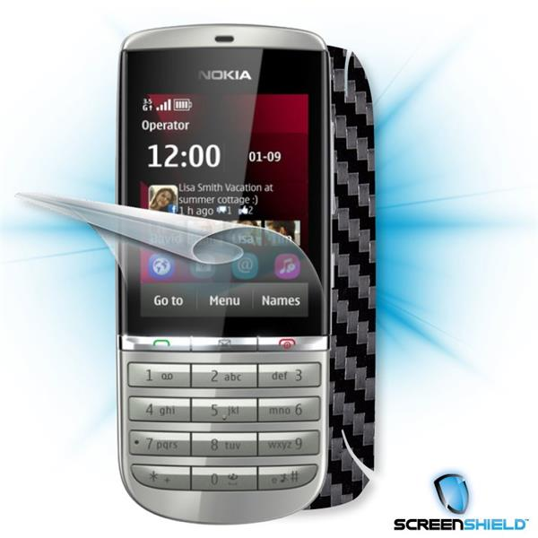 ScreenShield Nokia Asha 300 - Films on display and carbon skin (black)