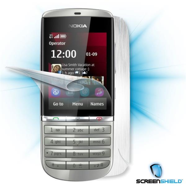 ScreenShield Nokia Asha 300 - Films on display and carbon skin (silver)