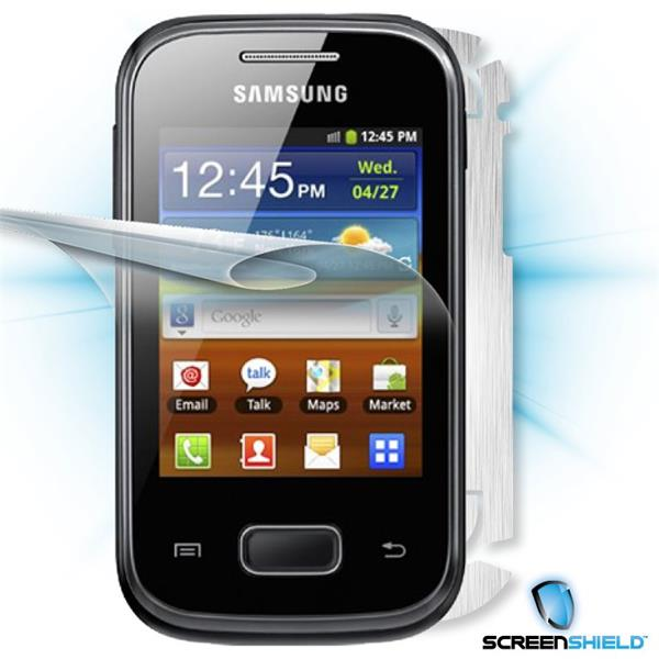 ScreenShield Samsung Galaxy Mini 2 Pocket S5300 - Films on display and carbon skin (silver)
