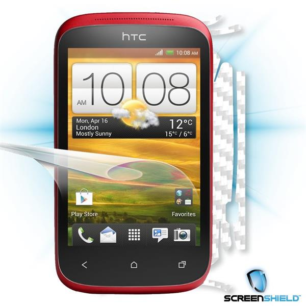 ScreenShield HTC Desire C - Films on display and carbon skin (white)