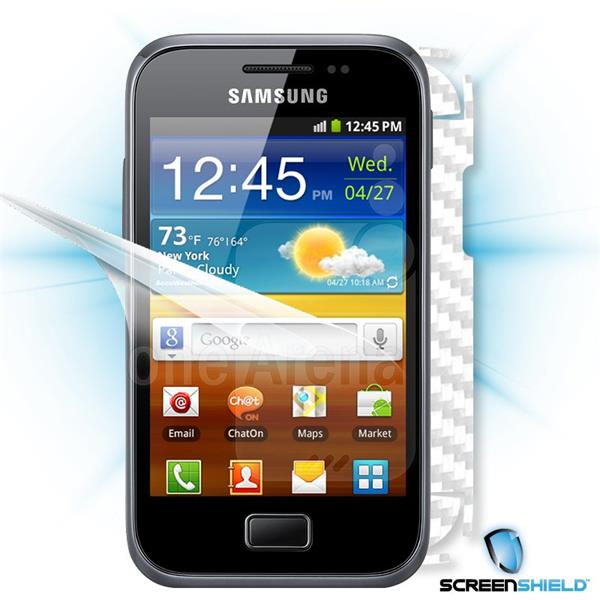 ScreenShield Samsung Galaxy Ace Plus S7500 - Films on display and carbon skin (white)