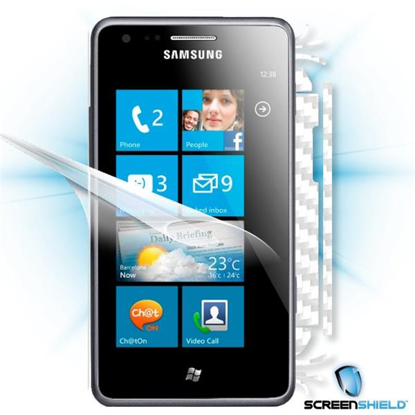 ScreenShield Samsung Omnia M S7530 - Films on display and carbon skin (white)