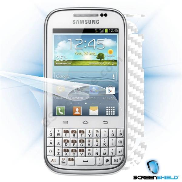 ScreenShield Samsung Galaxy Ch@t B5330 - Films on display and carbon skin (white)
