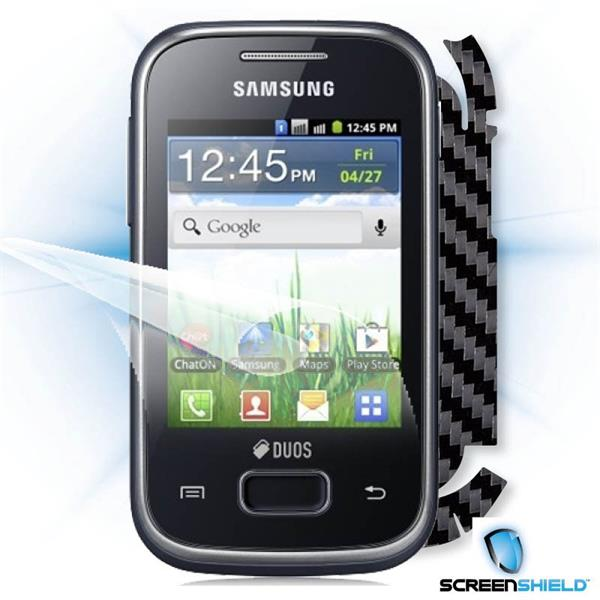 ScreenShield Samsung Galaxy Pocket Duos S5302 - Films on display and carbon skin (black)