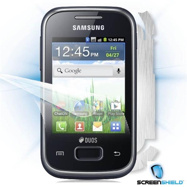ScreenShield Samsung Galaxy Pocket Duos S5302 - Films on display and carbon skin (silver)